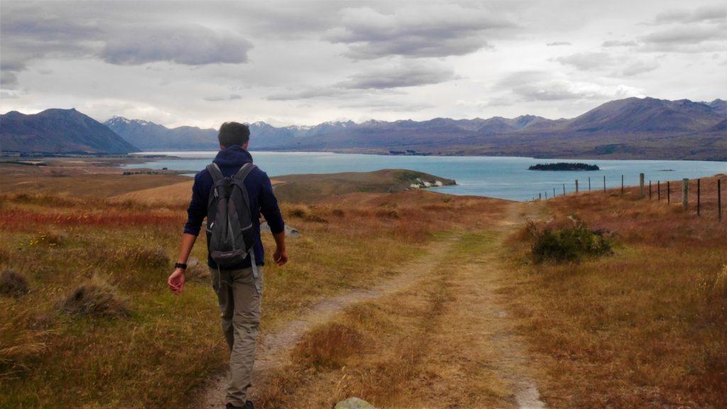 Thomas en route vers le lac Tekapo