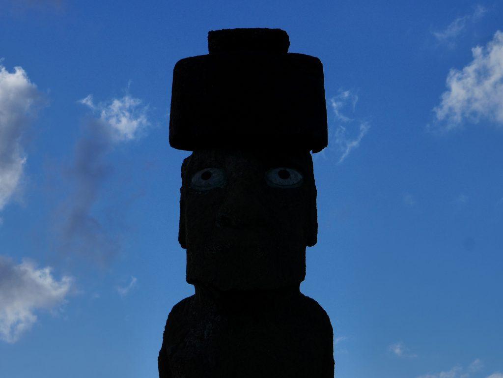 Détail du seul Moai avec des yeux en corail conservé à ce jour
