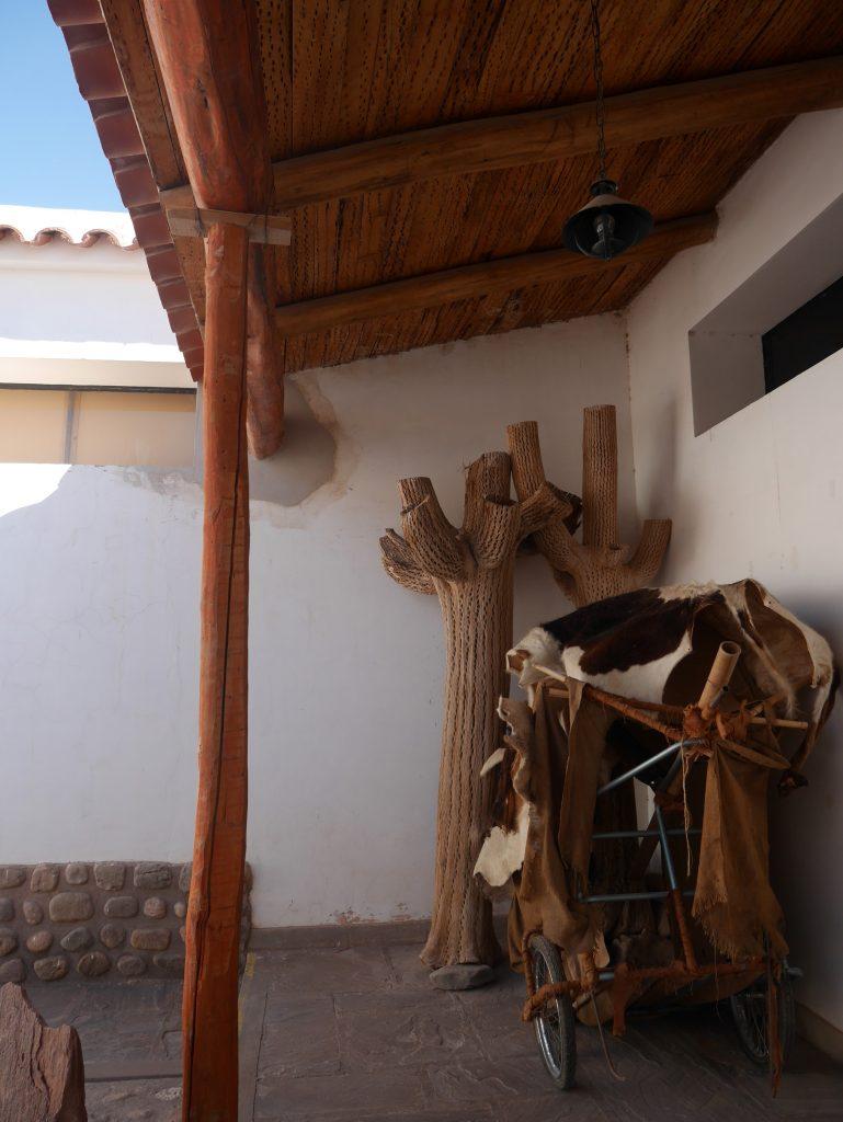 Dans le musée, toit en cactus, cactus et peaux de vaches